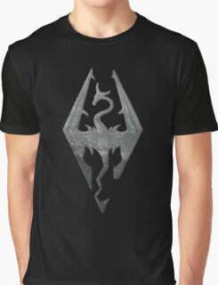 Skyrim logo blue mountain background engraved Graphic T-Shirt