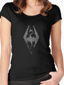 Skyrim logo blue mountain background engraved Women's Fitted Scoop T-Shirt