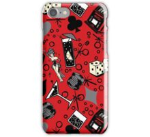 Viva Vegas Retro Casino Print - Red, Black and Gray iPhone Case/Skin