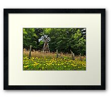 Windmill And Flowers Framed Print