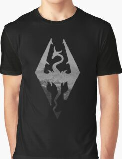 Skyrim logo blue mountain background Graphic T-Shirt