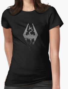 Skyrim logo blue mountain background Womens Fitted T-Shirt