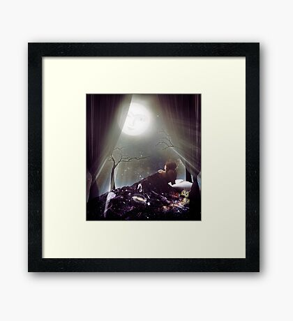 Glowing moon in the night sky spiritual cosmic illustration art photo print Framed Print