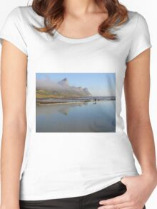 Mountains reflecting in tidal pool Women's Fitted Scoop T-Shirt