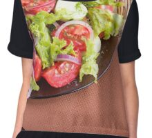 Foodstyle background closeup view of a dish with fresh salad  Chiffon Top