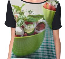 Vegetable vegetarian salad with raw tomato and cucumber Chiffon Top