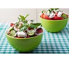 Vegetable vegetarian salad with raw tomato and cucumber Photographic Print