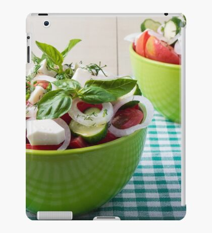 Vegetable vegetarian salad with raw tomato and cucumber iPad Case/Skin