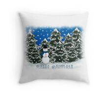 Merry Christmas Snowman Winter Scene Greeting Card Throw Pillow