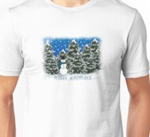 Merry Christmas Snowman Winter Scene Greeting Card Unisex T-Shirt
