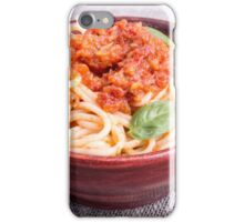 View close-up on a small portion of cooked spaghetti  iPhone Case/Skin