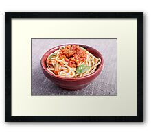 View close-up on a small portion of cooked spaghetti  Framed Print