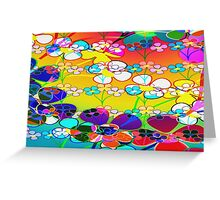 Abstract Colorful Flower Art Greeting Card
