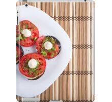 Top view of a vegetable dish of eggplant and red tomato iPad Case/Skin
