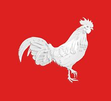 White rooster in paper cut style. Unisex T-Shirt