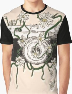 Vintage Camera Blooms Graphic T-Shirt