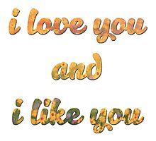 I love you and I like you Photographic Print