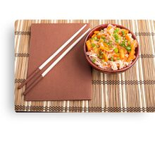 Top view of an Asian dish of rice noodle and vegetable seasonings Canvas Print