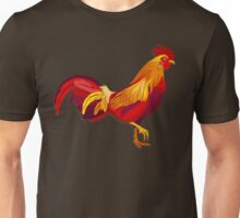 Red fire rooster in paper cut style. Unisex T-Shirt