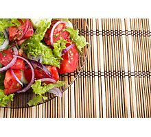 Closeup view on a fragment of a plate with fresh salad of raw tomatoes Photographic Print