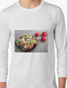 Small plate of natural salad of raw vegetables Long Sleeve T-Shirt