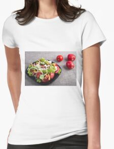 Small plate of natural salad of raw vegetables Womens Fitted T-Shirt