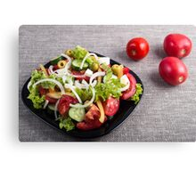 Small plate of natural salad of raw vegetables Canvas Print