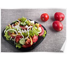 Small plate of natural salad of raw vegetables Poster