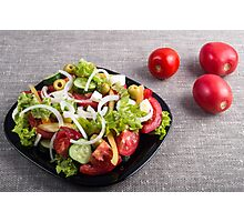 Small plate of natural salad of raw vegetables Photographic Print