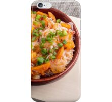 Asian dish of rice noodles in a small brown wooden bowl iPhone Case/Skin