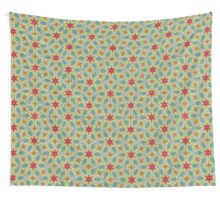 Pink Stars with Yellow Flowers Pattern Wall Tapestry