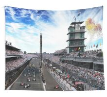 "Indianapolis 500 Start collage ""Back home again in Indiana"" Wall Tapestry"