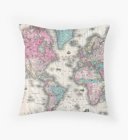 Vintage Map of The World (1852) Throw Pillow