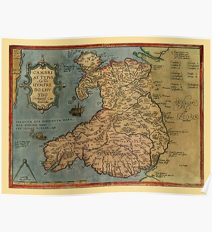 Map Of Wales 1573 Poster