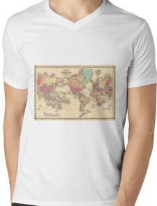 Vintage Map of The World (1860) Mens V-Neck T-Shirt