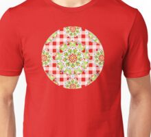 Red Gingham Firework Mandala Unisex T-Shirt