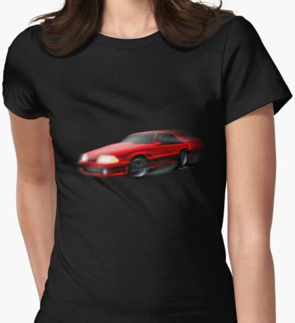 90 Ford Mustang 5.0 and The Midnight Chase Womens Fitted T-Shirt