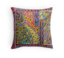 poppies and patterns Throw Pillow