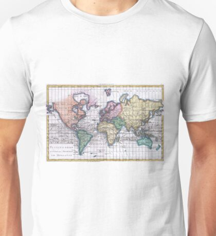 Vintage Map of The World (1780) Unisex T-Shirt