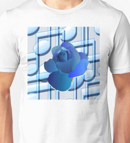 Blue Music Notes Blue Rose Unisex T-Shirt