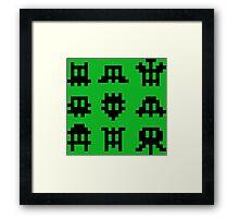 Pixel Invaders - Retro Pixelart Space Ships Framed Print