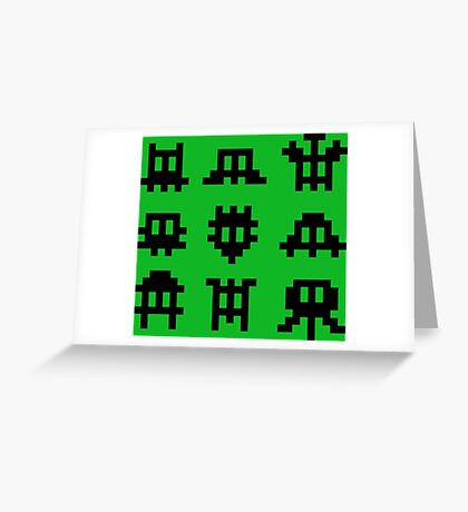 Pixel Invaders - Retro Pixelart Space Ships Greeting Card