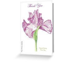 Thank You Card - Original Drawing - Flower Greeting Card