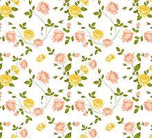 Roses, floral background, seamless pattern. by Kotkoa