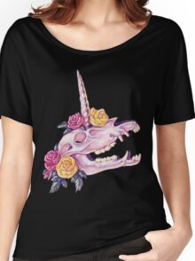 Unicorn Skull with Roses Women's Relaxed Fit T-Shirt
