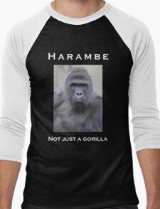 Harambe Oil Painting: Not Just a Gorilla Men's Baseball ¾ T-Shirt
