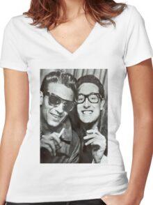 Buddy Holly and Waylon Jennings Women's Fitted V-Neck T-Shirt