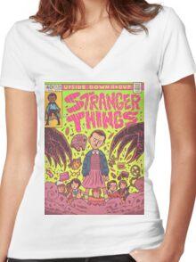 Stranger Things Comic (not original work) Women's Fitted V-Neck T-Shirt