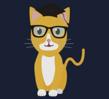 nerd geek cat Kids Tee