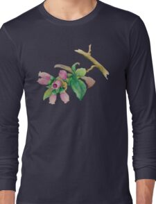 Watercolor Huckleberry Blossoms Long Sleeve T-Shirt